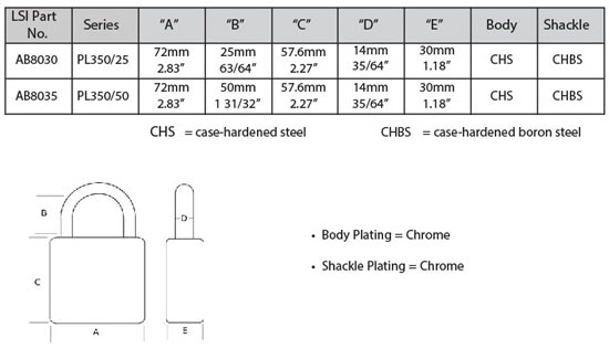 Abloy 350 padlock specifications