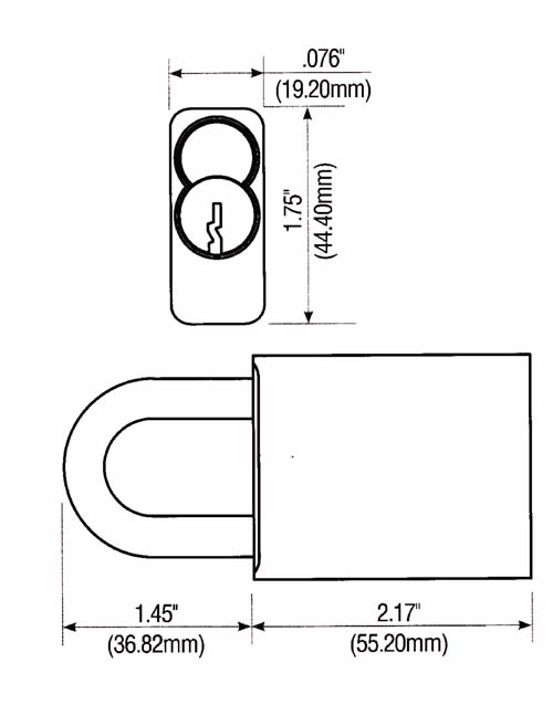 TFA9100 PAdlock Dimensions